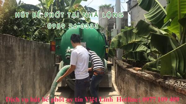 Hút bể phốt tại xã Nhã Lộng
