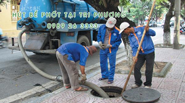 Hút bể phốt tại xã Tri Phương